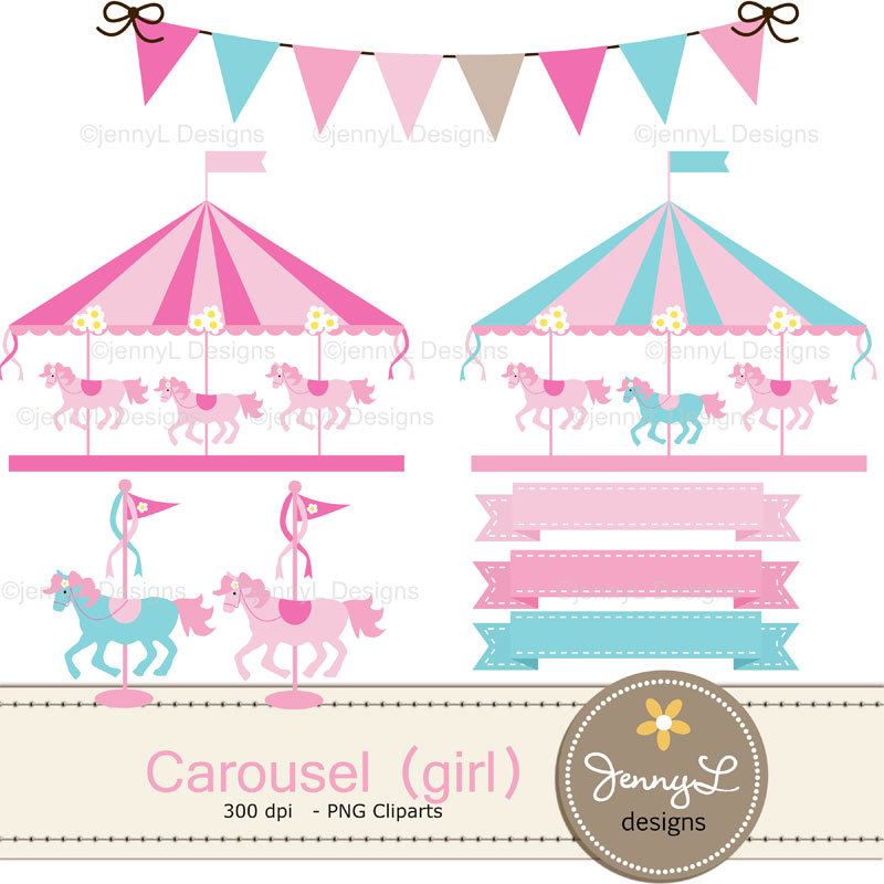 Carousel clipart carnival Digital Clipart file Carnival Merry