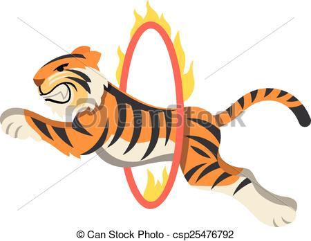 Carneval clipart tiger Through flaming EPS of Circus