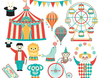 Ferris Wheel clipart funny Clipart lion seal Circus Etsy