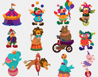 Carneval clipart circus bear Clown clipart Digital Images Circus