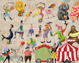 Carneval clipart circus bear Illustrations Circus and Digital Etsy