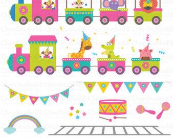 Carneval clipart circus train Etsy paper art Digital Animal