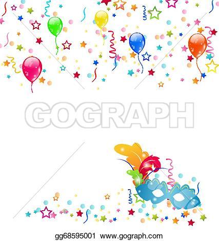 Carneval clipart confetti Vector balloons Vector with confetti
