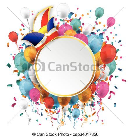 Carneval clipart confetti Balloons Vector Golden Carnival Clipart