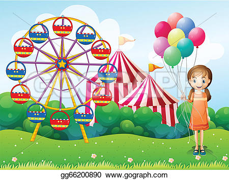 Carneval clipart happy Young carnival girl a Vector