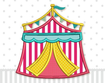 Carneval clipart pink circus tent Embroidery sizes Tent Embroidery Etsy