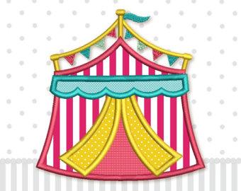 Carnival clipart pink circus tent Machine Design DE033 Applique sizes