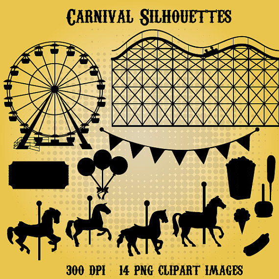 Carnival clipart silhouette Instant clipart Silhouettes Carnival