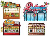 Carnival clipart stalls Clip fruitstand Stalls Art Food