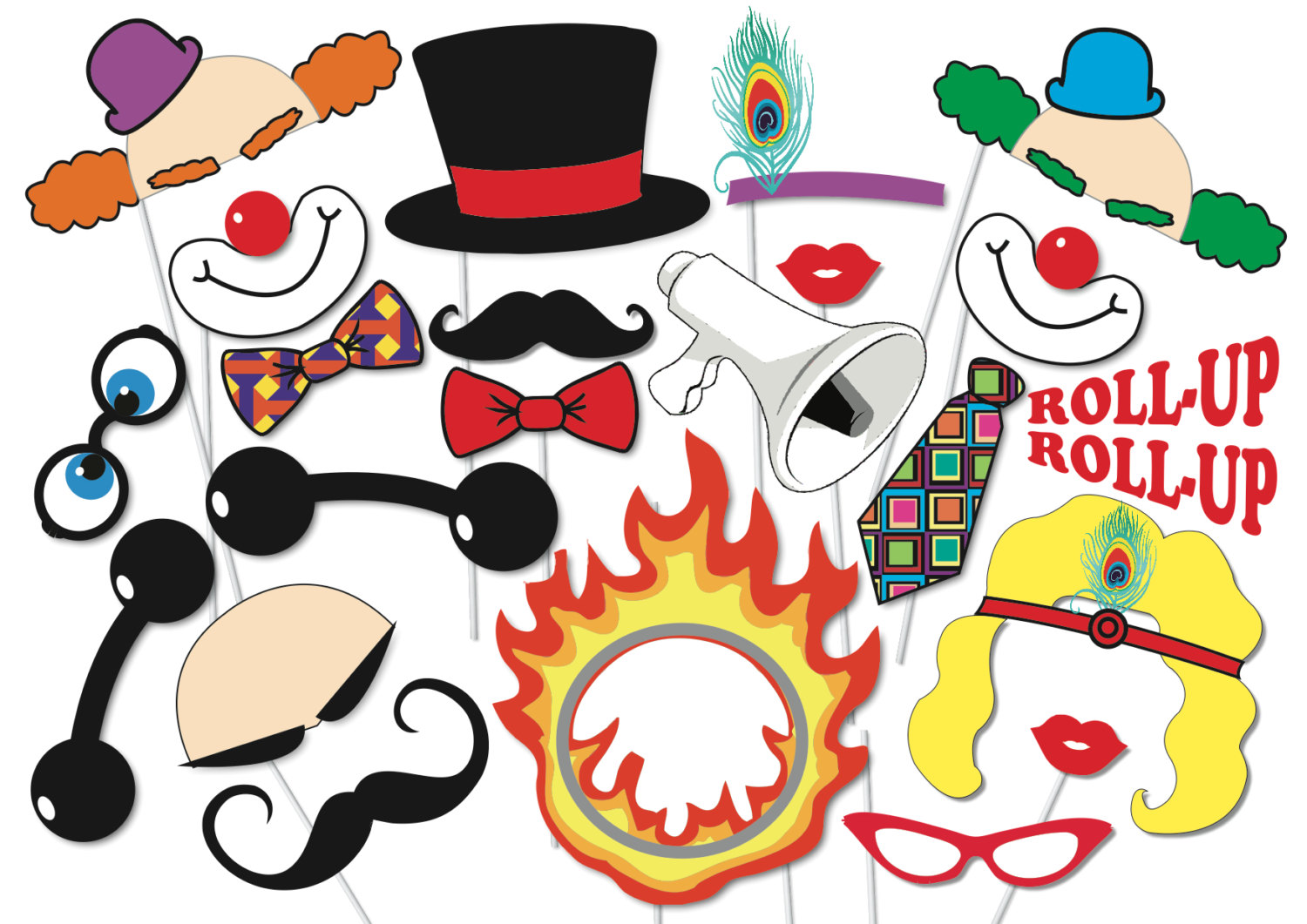 Carneval clipart strong man 22 Printable clowns PRINTABLE PhotoBooth