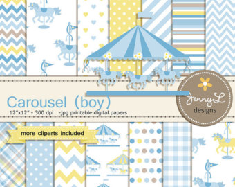 Carousel clipart baby Merry Blue Clipart Etsy Paper