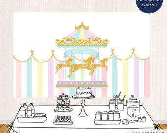 Carousel clipart baby Wording Backdrop Any shower Shower