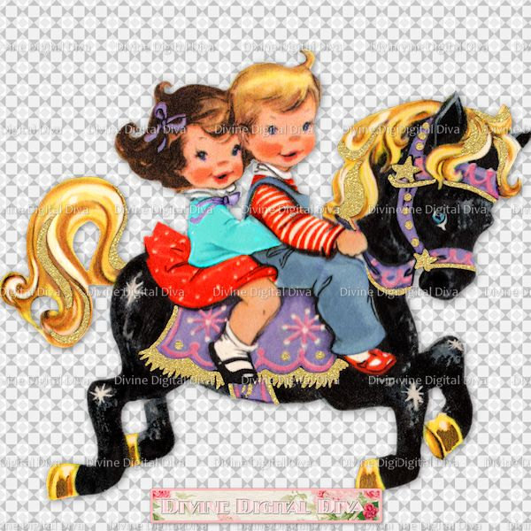 Carousel clipart baby Carousel Vintage Transparent Clipart Etsy