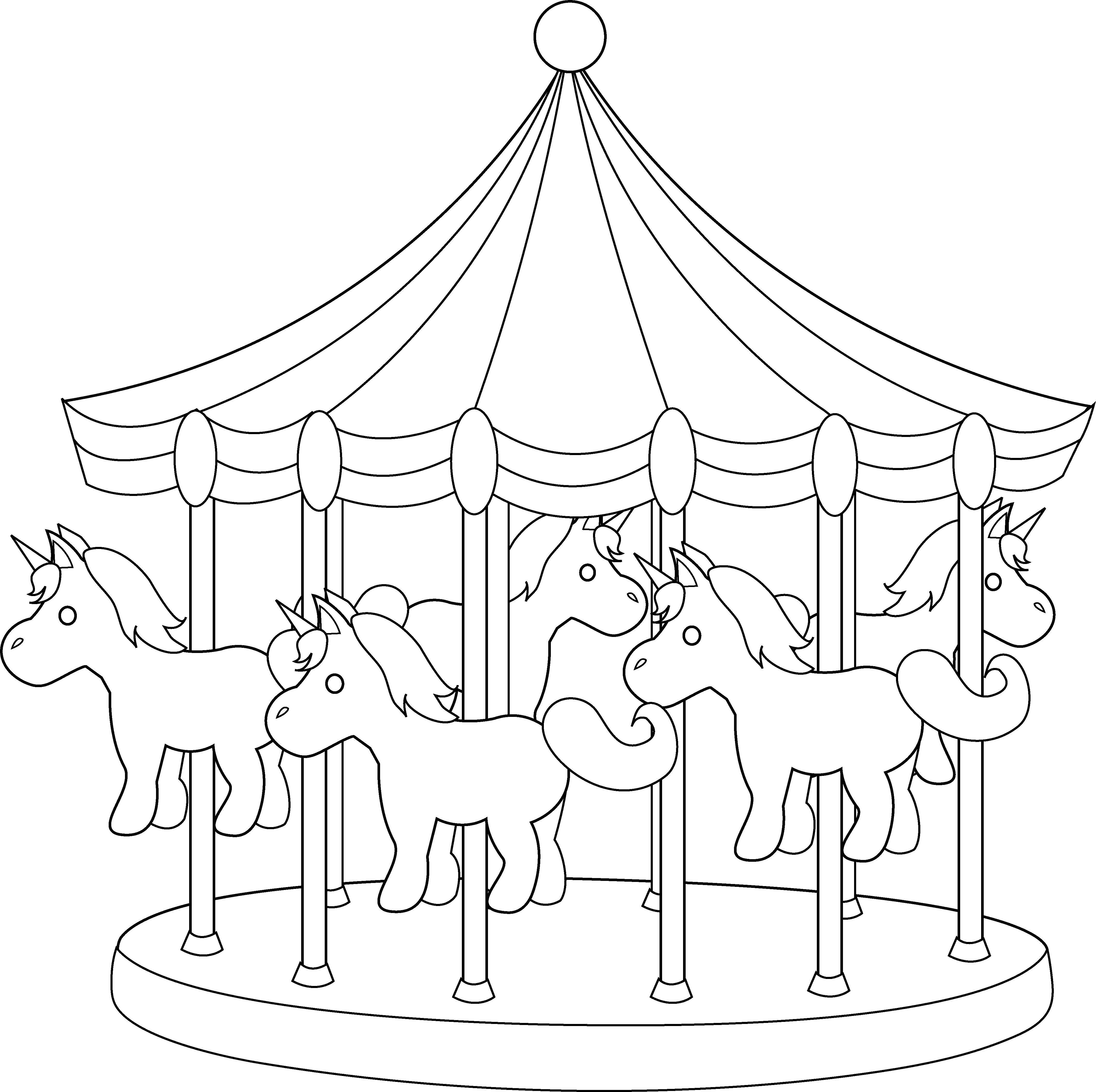 Carousel clipart carnival Coloring Carousel Art Line Carousel