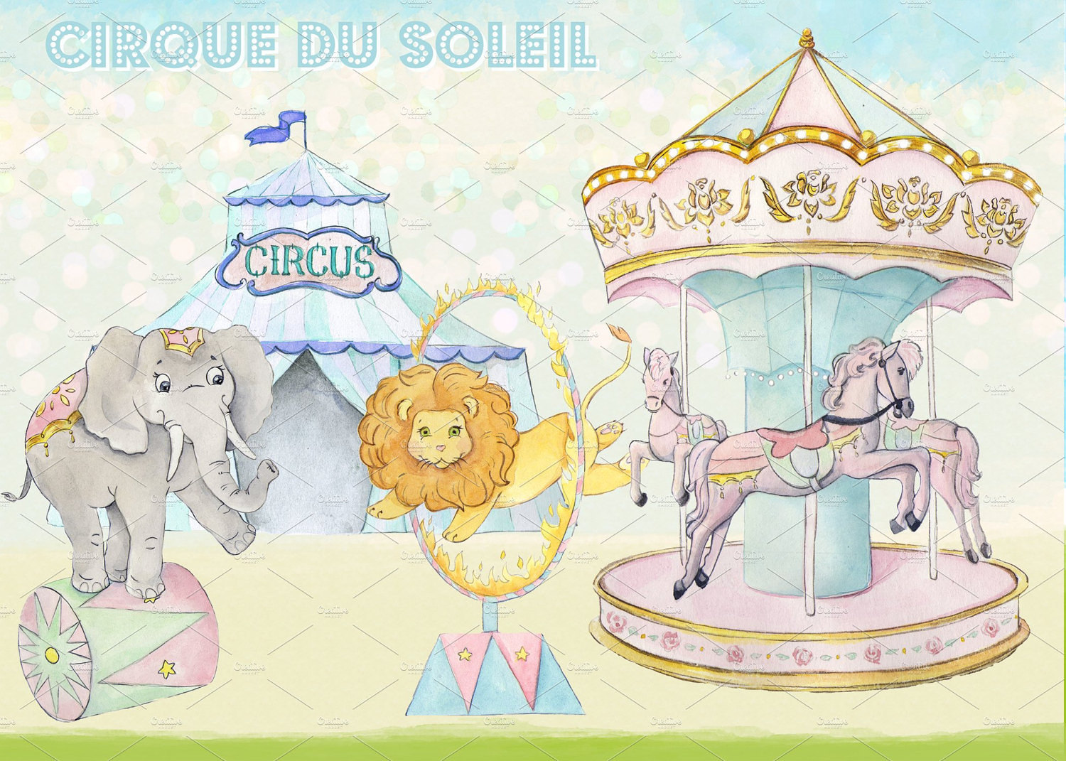 Carousel clipart circus File a Images Watercolor Circus