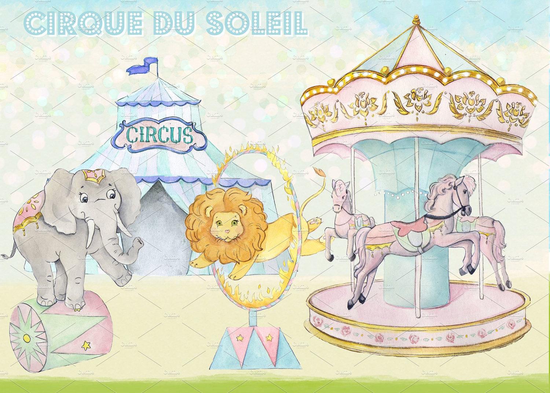 Carousel clipart circus Circus digital Clipart Watercolor This