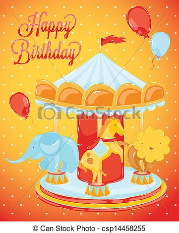 Carousel clipart circus  csp14458255 with card Clipart