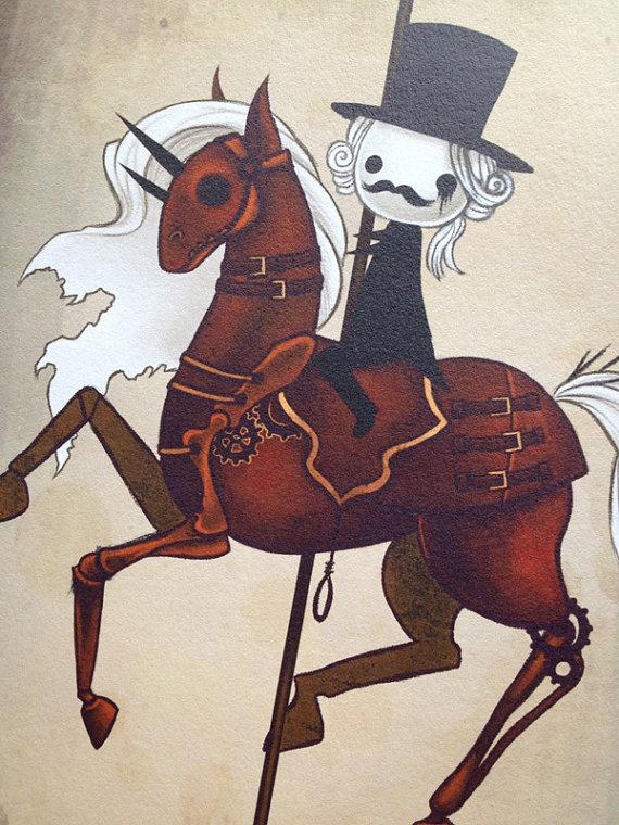Carousel clipart creepy Horsemen 8x12  fine art