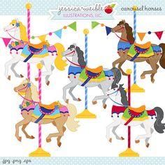 Carousel clipart creepy JPEG art file Carousel EPS
