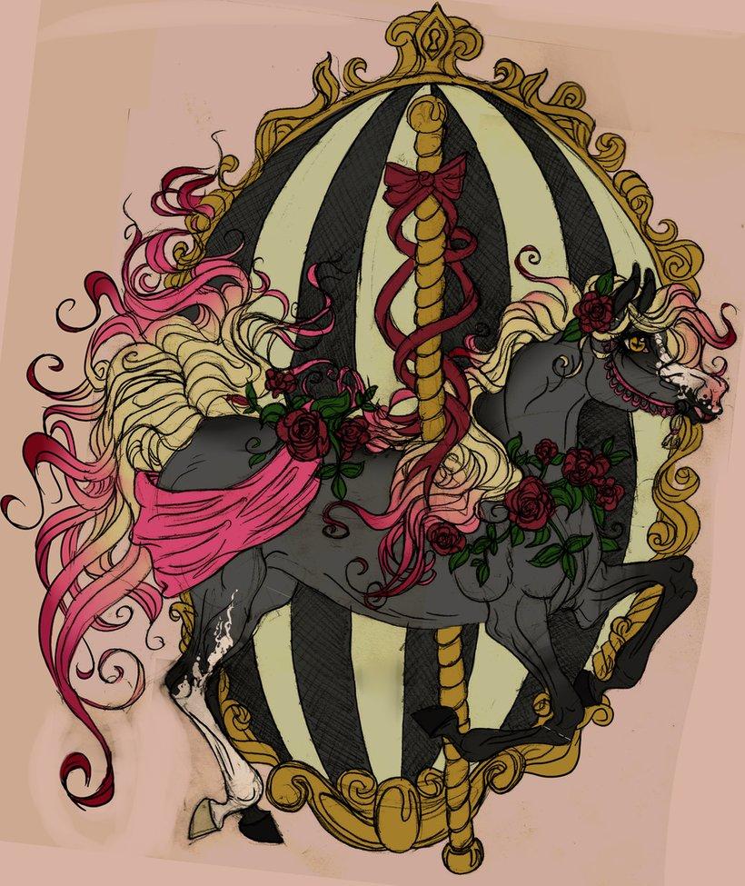 Carousel clipart creepy Pinterest  carousel Creepyish horse