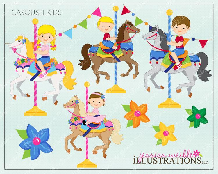 Carousel clipart cute Kids Invitations Cute Carousel for