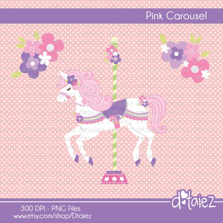 Carousel clipart cute A cute flowers PINK digital