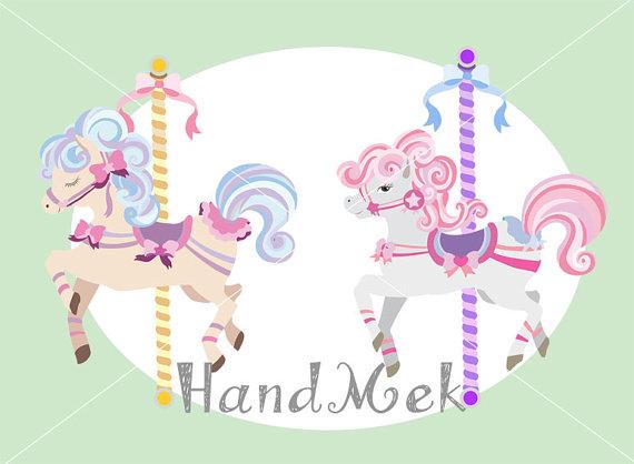 Carousel clipart cute ◅ clipart Art set merry