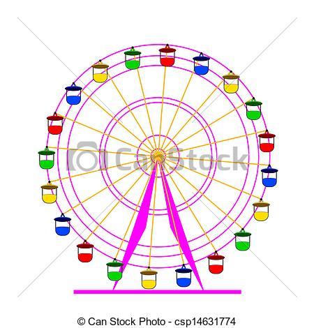Carousel clipart giant wheel Vectors Illustration of Silhouette atraktsion