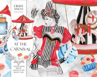Carousel clipart kids carnival Clipart Carousel White Etsy Art