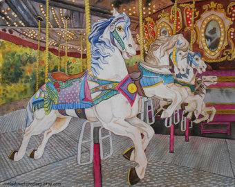 Carousel clipart kids carnival Watercolor Carousel Print Etsy Kids
