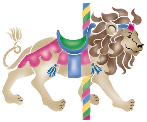 Carousel clipart lion Stencil Large Carousel  Wall