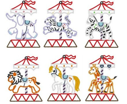Carousel clipart lion  6 items tiger 6