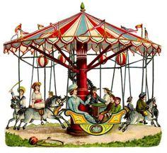 Carousel clipart old Carousel art cottage illustration Vintage