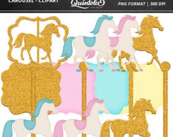Carousel clipart old Kit Etsy Carousel Digital clipart
