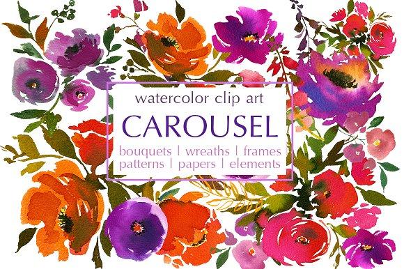 Carousel clipart orange Carousel Illustrations ~ Watercolor Market