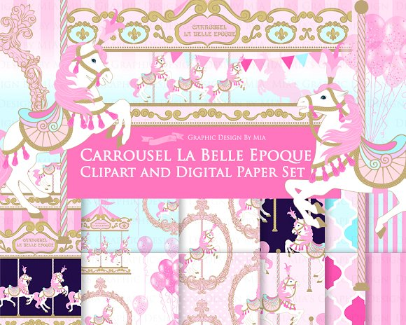 Carousel clipart pink Clipart+Pattern Clipart+Pattern Carousel Carousel ~