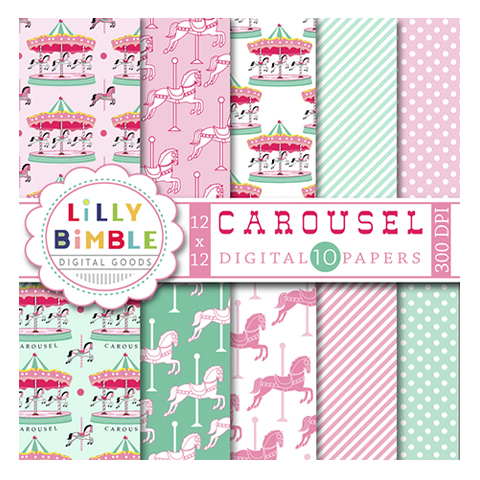 Carousel clipart pink Papers Carousel Digital Clipart &