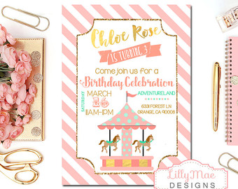 Carousel clipart pink gold Invitation Girl's Amusement Park Party