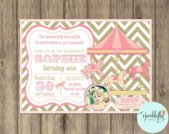 Carousel clipart pink gold Invitation Paperie by Gold Printable