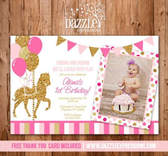 Carousel clipart pink gold Invitation out Photo Printable Birthday