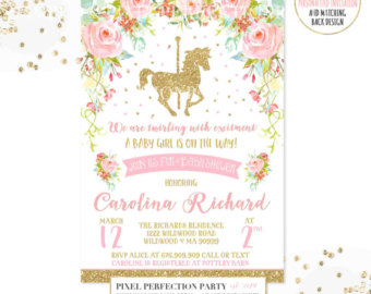 Carousel clipart pink gold Baby Invitation Baby Floral Pink