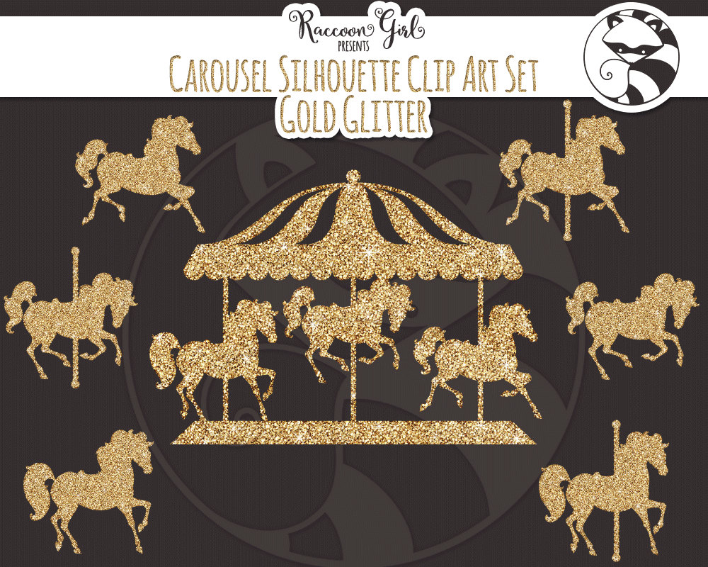 Carousel clipart pink gold & Set 50% Clip Personal