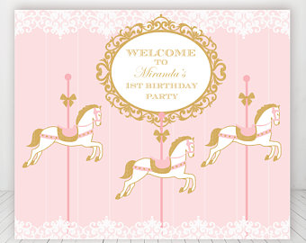 Carousel clipart pink gold Banner printable carousel gold backdrop