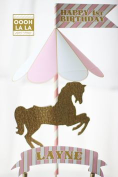 Carousel clipart pink gold Silhouette the and in Cake
