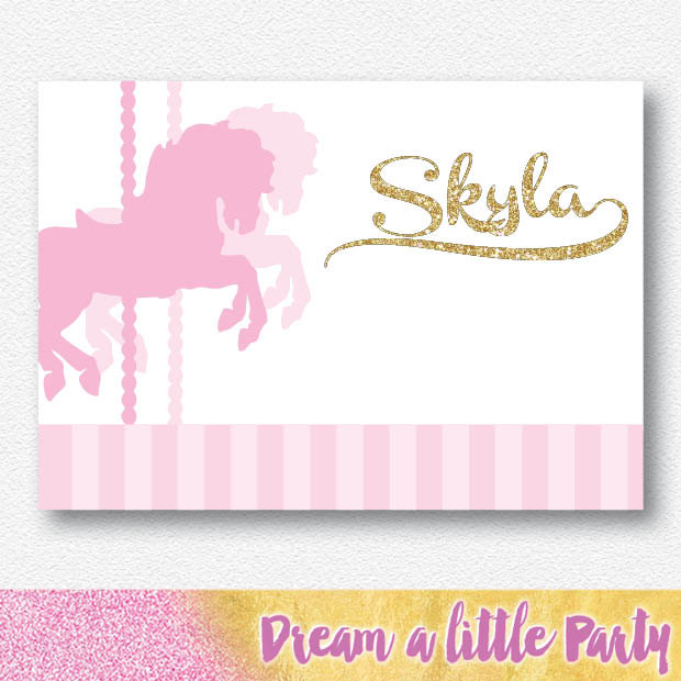 Carousel clipart pink gold Party Digital Pink Backdrop file