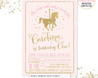 Carousel clipart pink gold Birthday Invitation Gold Pink Party