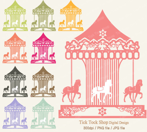Carousel clipart pink gold Merry Art/ inch 01 10
