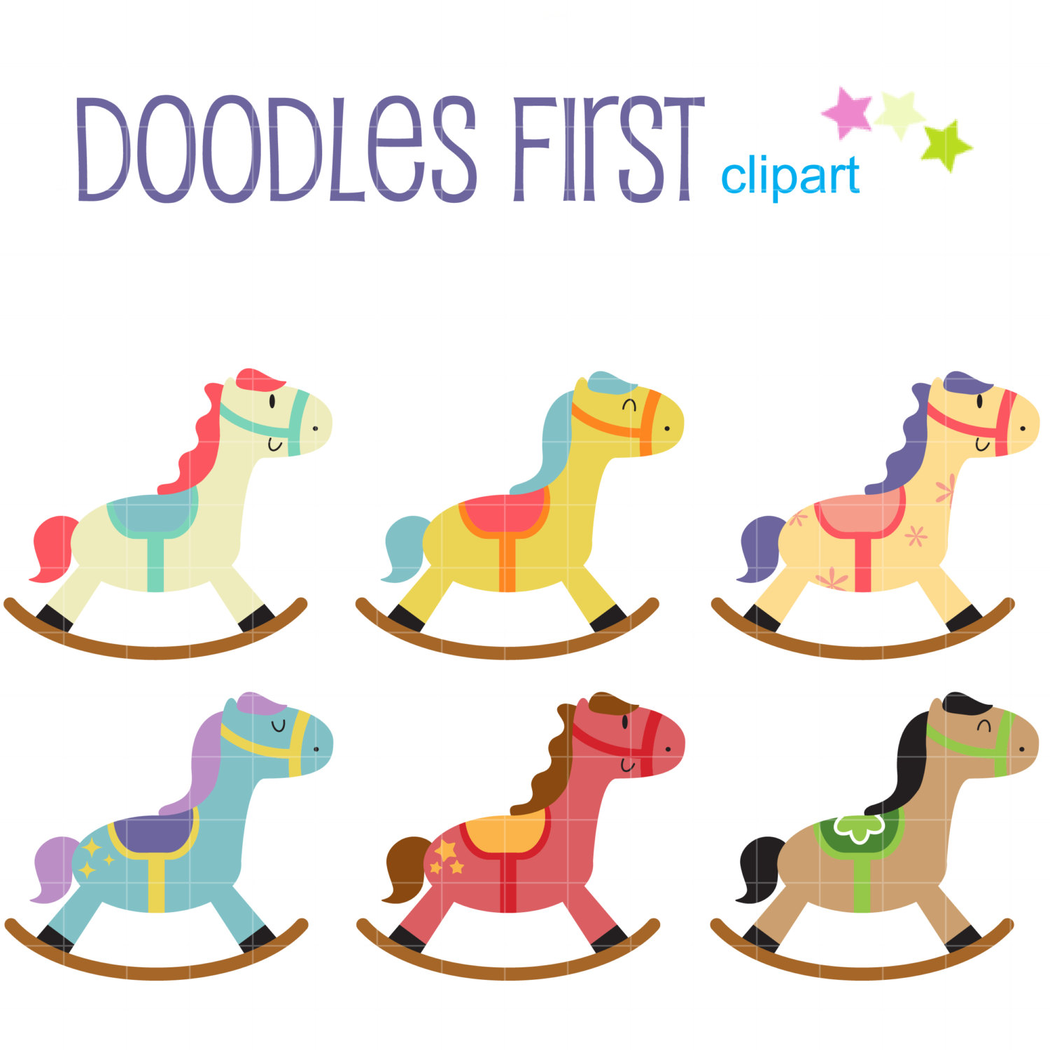 Carousel clipart rocking horse Making Rocking Paper Etsy topper
