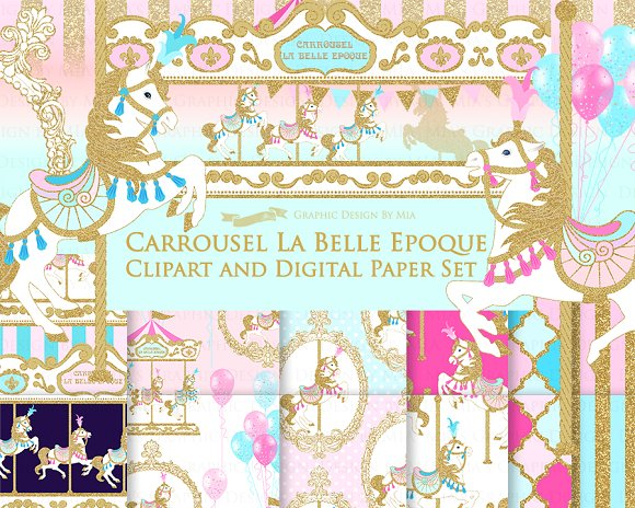 Carousel clipart victorian Illustrations ~ Clipart+Pattern Creative on