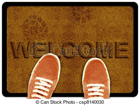Carpet clipart mat With foot shoeand Stock welcome